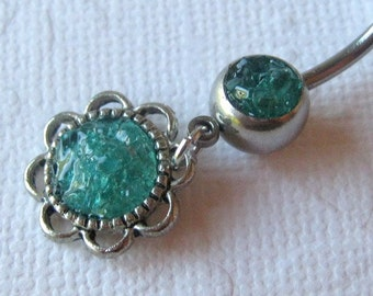 Flower Belly Ring, Aqua Blue Belly Ring, Belly Button Jewelry, Rock Candy Jewelry