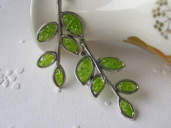 Branch Earrings, Leaf Earrings, Twig Earrings, Stem Earrings, Stained Glass Leaf, Twig Jewelry