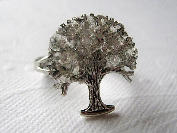 Tree Ring, Tree Ring Jewelry, Tree of Life Ring, Silver Glass Tree, Iridescent Jewelry