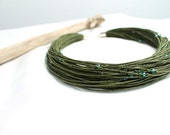 Moss Green Waxed Linen Necklace Sparkling Glass Spring Olive Fashion Multistrand Fiber Jewelry Khaki Eco Friendly