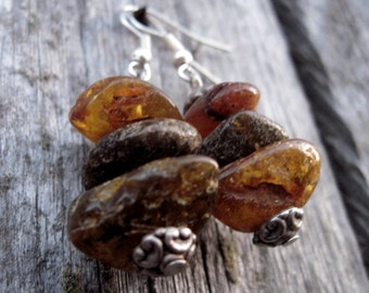 Raw Unpolished Baltic Amber Earrings Dangle Rough Stone Jewelry Natural Eco Earthy Brown Rustic Zen
