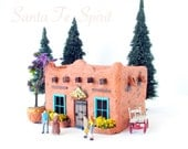 Santa Fe Spirit - Handmade and Hand-Painted Miniature Adobe Terracotta House with White Flowering Vine - HO Scale Building