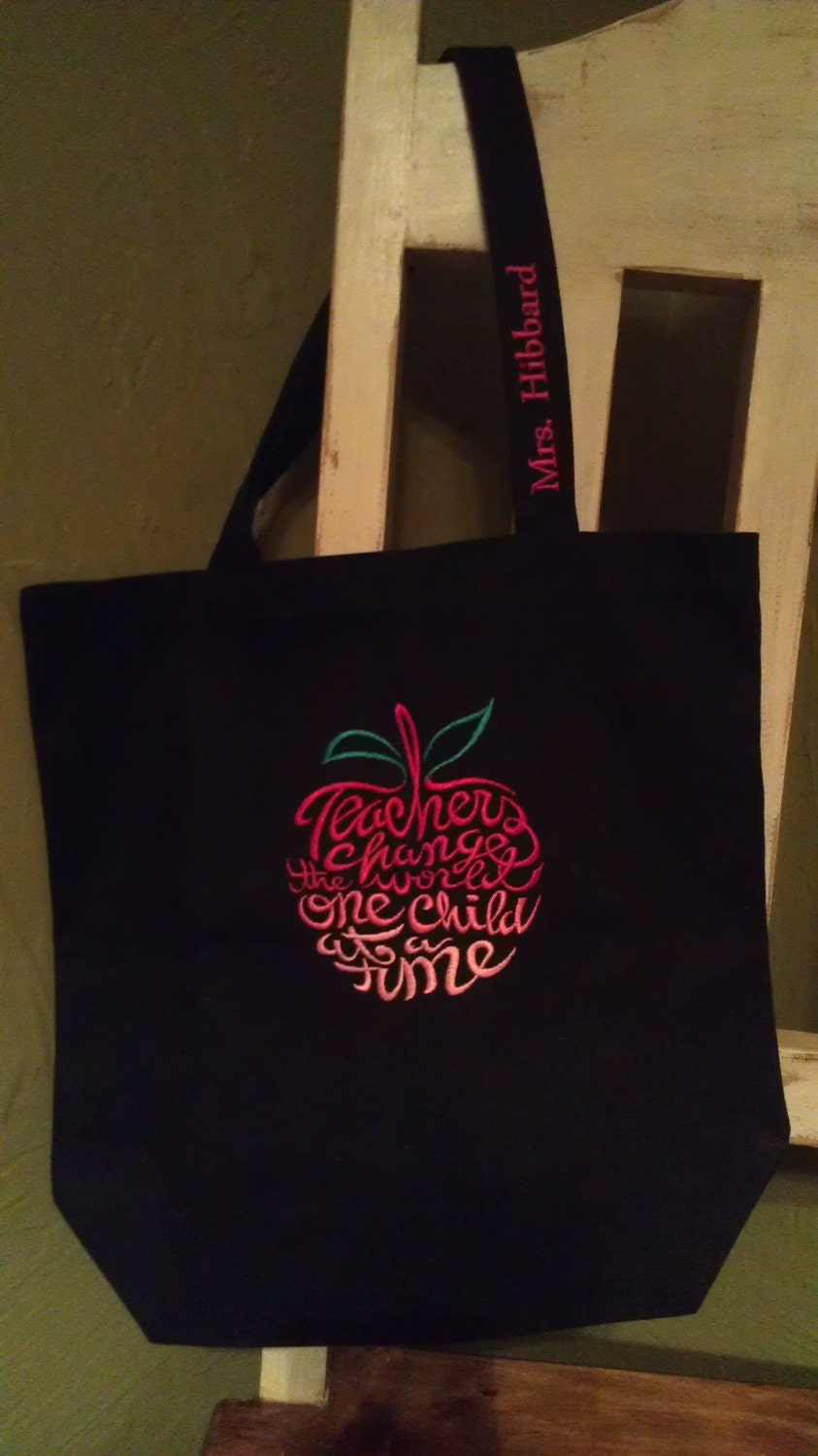 personalized teacher tote bag teacher gift black tote with