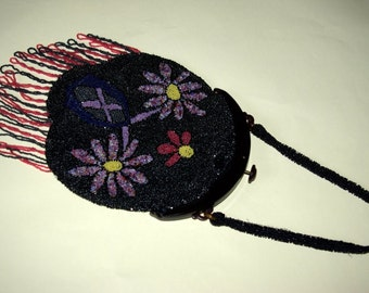 Beautiful French Art Deco Czech beaded purse with celluloid frame c1920
