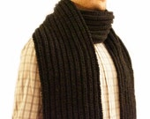 Men Scarf hand knitted in charcoal black, knitted men scarf, men scarf for sale, scarves men