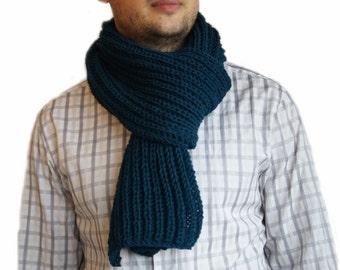 Petrol blue scarf, Mens knit scarf, Man scarf, Petrol blue knit scarf for men SALE now
