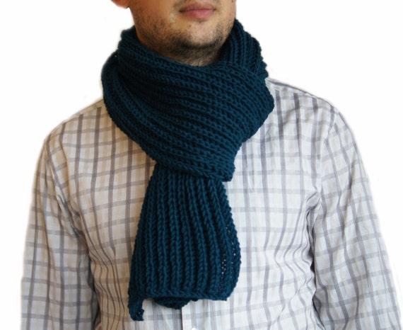 Knitting Scarves For Men : Petrol blue scarf mens knit man