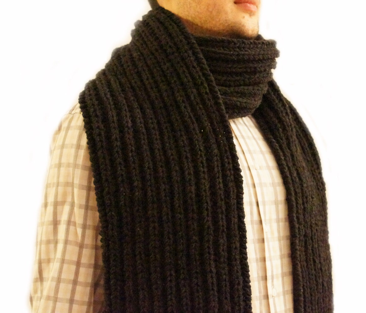Men Scarf hand knitted in charcoal black knitted men scarf men scarf  Hand Knitted Men's Scarves