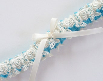 Wedding Garter, Something Blue Garter, Ivory Venise Lace Garter over Blue Ribbon, Ivory Bow and Pearl