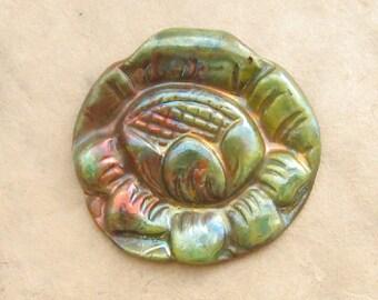 Ceramic Raku Pendant - Iridescent Lotus