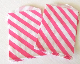 Hot Pink Diagonal Stripe Little Bitty Bags Set of 10