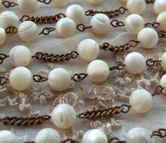 Large Mother of Pearl Classic Round Rosary Beads Chain Strand