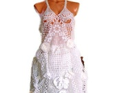 Handmade cotton lace crochet doily dress, recycled eco fashion shabby chic lace bridal dress, jumper