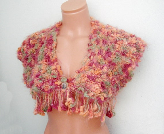Soft Fluffy Colorful  Handknited  bolero,cropped sweater one button top tank