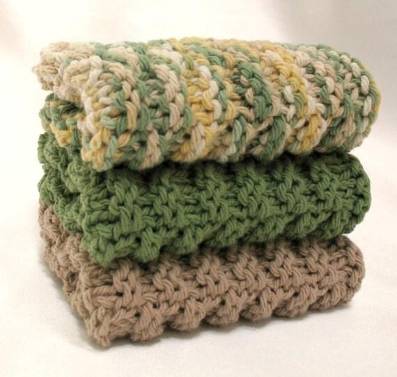 Knit Dishcloth Knitted Cotton Dish Cloth Olive Sage Green Tuscan Kitchen Decor