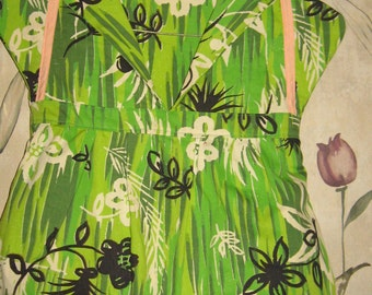 Vintage 1950s Clothes Pin Bag Dress Laundry for Clothes Line HAWAIIAN theme print flowers