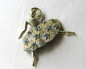 Vintage Rhinestone Ballerina Pin Brooch 1950s Figural