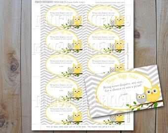 Owl Diaper Raffle Ticket / Printable Raffle Ticket for a Baby Shower / Yellow and Grey Owls / Instant Download / PRINTABLE / 42842