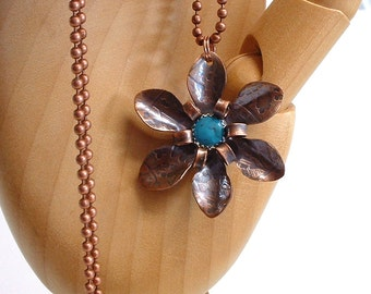 Copper and Turquoise Flower Pendant Necklace Metal Flower