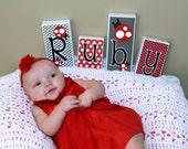 Personalized Wood Blocks - Baby Room Custom Names - M2M JoJo Design's Little Ladybug Red & White Polka Dot Ladybug Bedding - wood letters