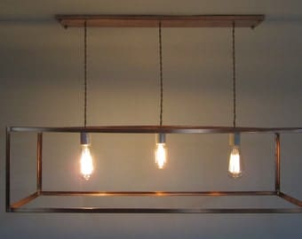 Industrial Copper Cage Chandelier Bare Bulb Pendant - Long Rectangular Box Shade - Customize for Sloped Vaulted Ceiling -Three Light Sockets
