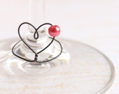Wine Charms (6) - Unique Heart Shape - Shabby Chic Heart and Pearl Wine Glass Charm set (6)