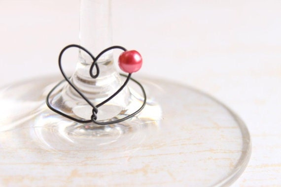 Wine Charms 6 Unique Heart Shape Shabby Chic Heart And