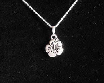 Hibiscus Charm Necklace, beach theme jewelry