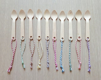 New Gift tags -20 Mini Wooden Spoons with Twines