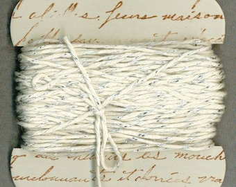 20 yards bakers twine silver platinum sparkle hand made ribbon card french script gift r870 . ....oohlala