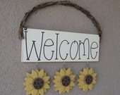 WELCOME SIGN (SUNFLOWERS) for wall and home decor
