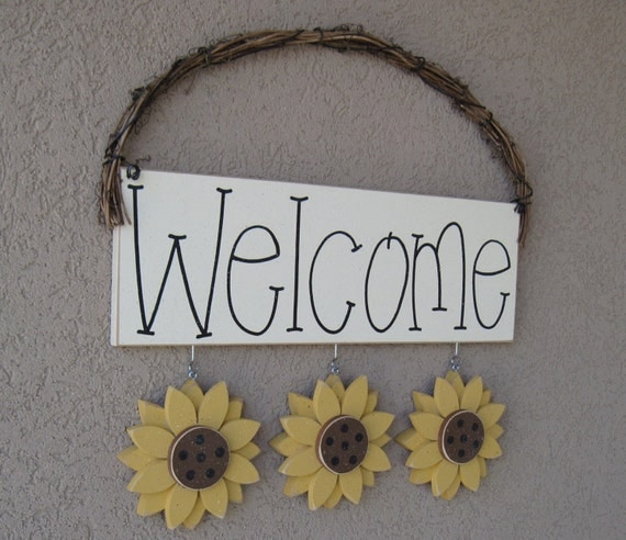 Sunflower Home Decor: WELCOME SIGN SUNFLOWERS For Wall And Home Decor