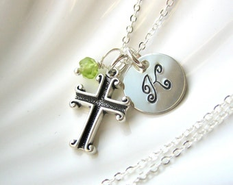 Initial Cross and Birthstone Necklace - Hand Stamped  - Sterling Silver - Personalized - Confirmation Gift - Baptism - Communion - Religious