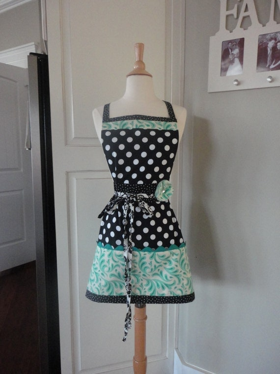 4RetroSisters Pockets & More - Aqua Green Retro Modern  Women's Work Apron