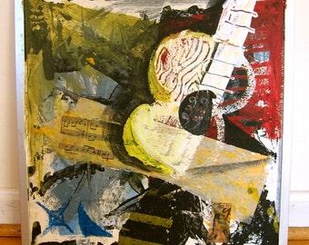 Original Outsider Art Collage Canadian Artist Jay Meyers aka Jo Smo Jo Smoking Josmo King Vancouver Abstract Guitar Music Score