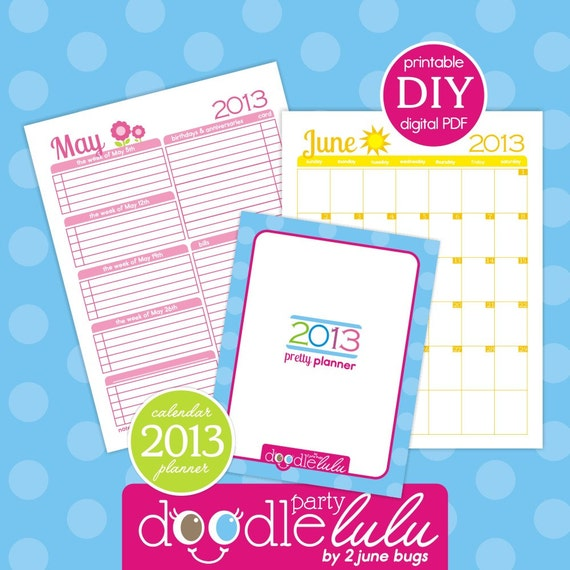Diy Calendar Organizer : Instant download diy printable planner calendar pages