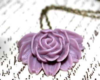 Lavender Flower Necklace, Rose Necklace