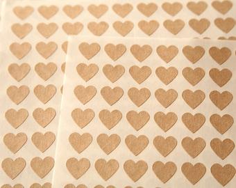 Mini Heart kraft brown labels sticker sheet
