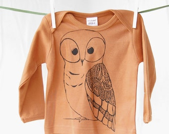 Owls, Orange, Owl Shirt, Halloween, Girls, Long Sleeve T-shirt, Size 6, Etsy Kids Team
