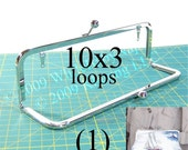 10x3 Nickel-free metal purse frame(TM) kisslock with LOOPS