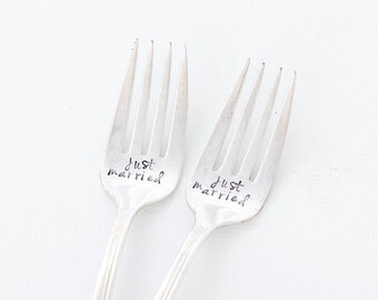 Bridal Wedding Cake Forks. Just Married Wedding Table Setting for the Bride and Groom.