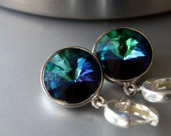 Swarovski Rivoli Earrings - Simple Earrings - Dangle Earrings - Crystal Earrings - Everyday Earrings - Hoop Earrings - Casual Earrings