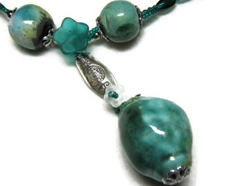 Blue Green Porcelain Bead Necklace