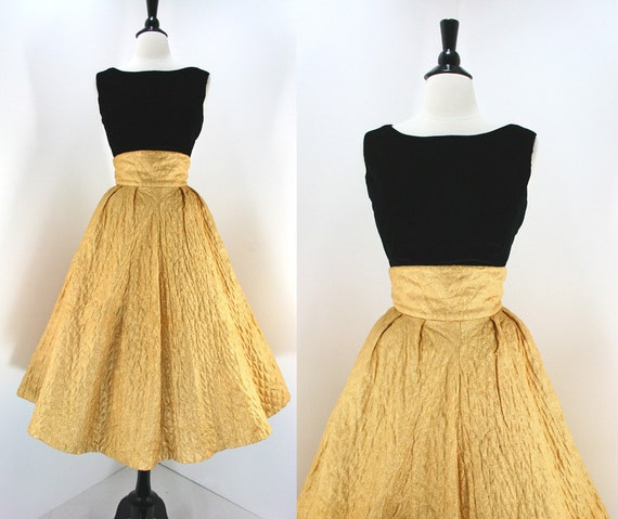 50s Dress Set Vintage Gold Lame' Full Skirt High Waist