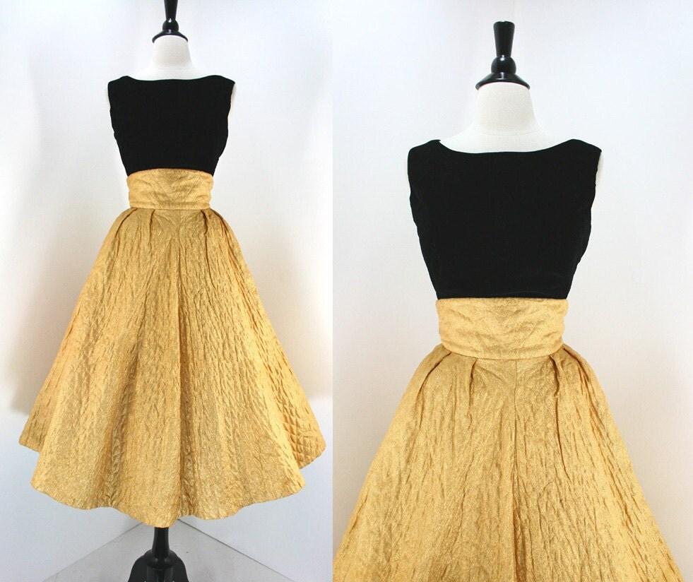 50s Dress Set Vintage Gold Lame' Full Skirt High Waist