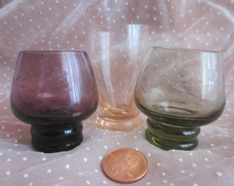 3 Miniature Etched Glass Cups Colorful Peach, Amethyst, and Smoke Gray