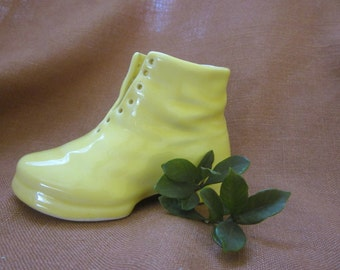 Yellow Ceramic Lace Up Boot or Shoe Planter or Vase  Colorful and Cute