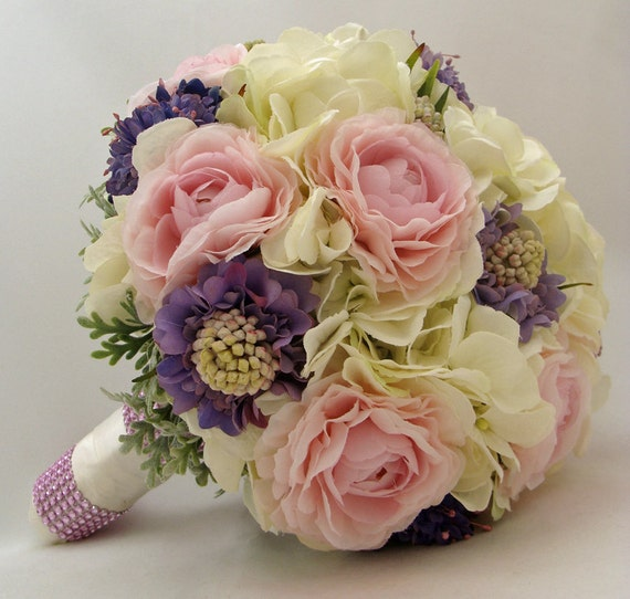 Pink Periwinkle Silk Flower Bridal Bouquet Groom's