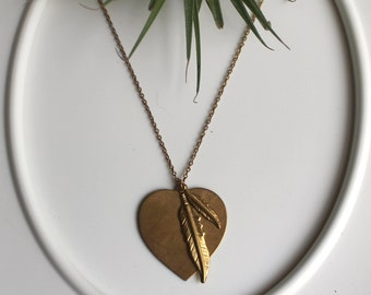 Give Yourselves to Air Necklace. Vintage Brass Heart, engraved with a quote from a Ranier Maria Rilke poem.