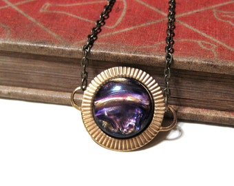 Galaxy Necklace - Round Raw Brass - Purple Gold Swirls - Outer Space - Vintage Cabochon - Abstract - planet planetary solar system